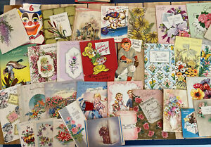 Vintage-Greeting-Cards-Lot-1940s-And-Up-35-Cards-Ephemera-Mixed-Lot-B