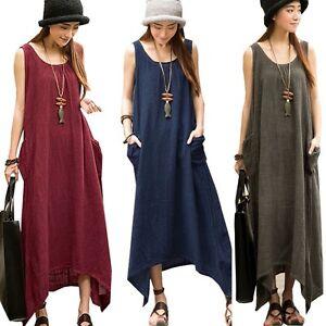 UK-STOCK-Women-Summer-Sleeveless-Pockets-Tunic-Baggy-Long-Maxi-Boho-Dress-Kaftan