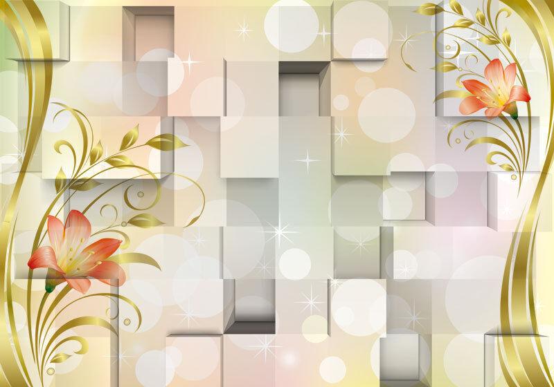 3D Flower golden Leaves Modern Full Wall Mural Photo Wallpaper Home Decal Kids