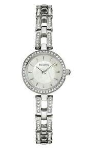 Bulova Women's Quartz Swarovski Crystal Accent Silver-Tone 23mm Watch 96X130