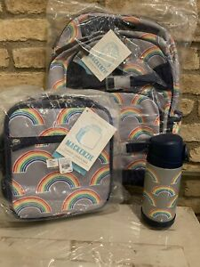 Pottery Barn Kids Gray Neon Rainbow Large Backpack