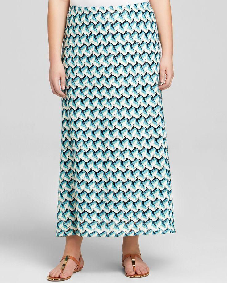 Karen Kane Mist Green Plus Size Crochet Maxi Skirt - MSRP  118