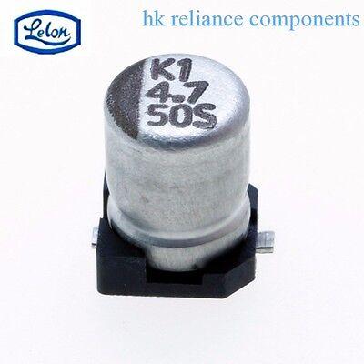 10pcs SMD Aluminium Electrolytic Capacitor 50V 4.7uF 4x5mm