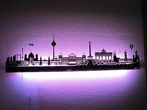 berlin oder london skyline led wandleuchte wandbild standleuchte biscay mit fb ebay. Black Bedroom Furniture Sets. Home Design Ideas