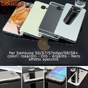 Cover-silicone-Alluminio-retro-Specchio-custodia-per-Samsung-S6-S7-S7edg-S8-S8