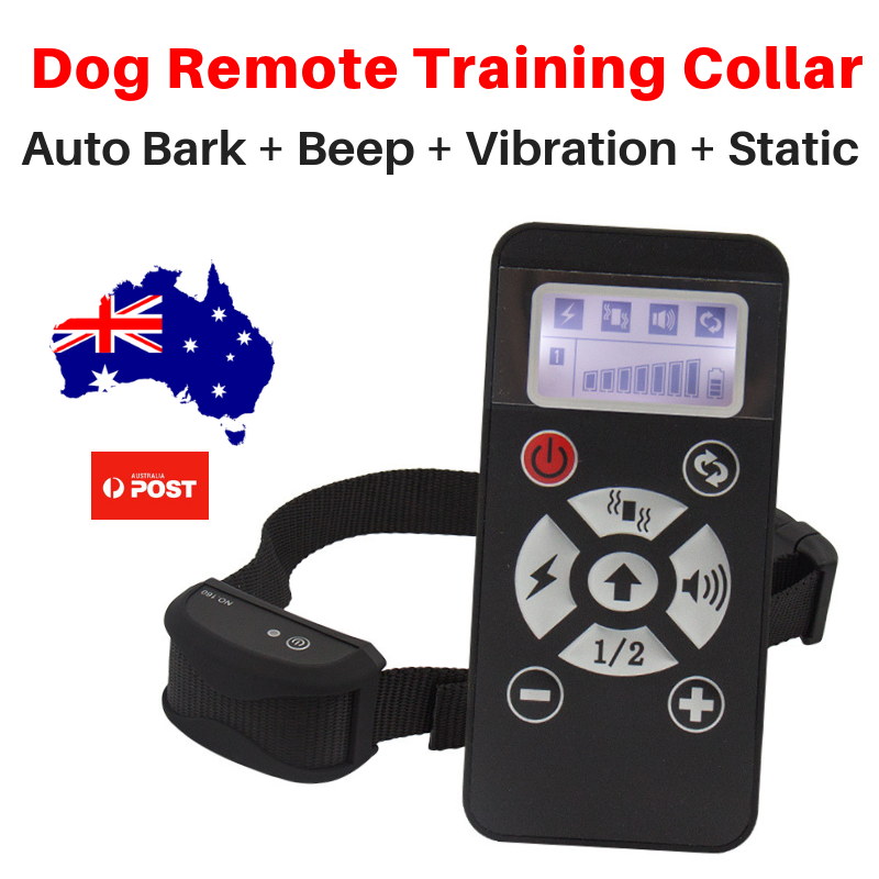 REMOTE TRAINING COLLAR + AUTOMATIC ANTIBARK Dog Collar STATIC VIBRATION SOUND