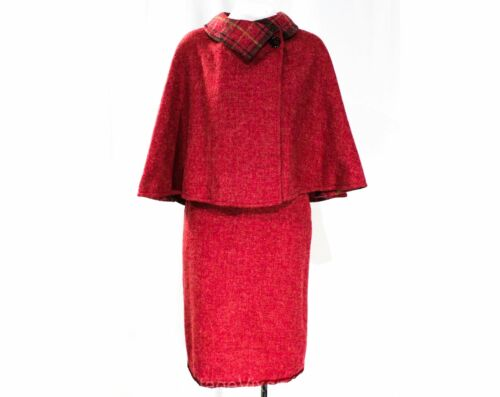 Size 6 Raspberry Wool Cape & Skirt Suit - 1950s 60