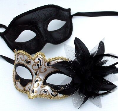HIS N HERS PAIR COUPLES BLACK /& GOLD VENETIAN MASQUERADE PARTY PROM EYE MASKS