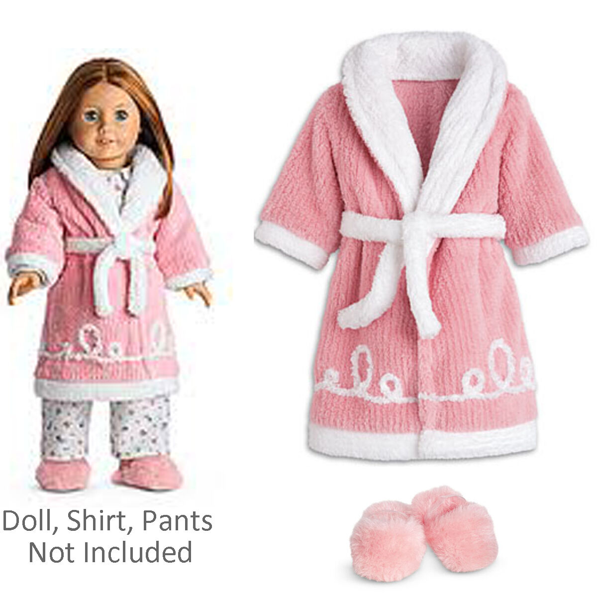 American Girl Emily Robe & Hausschuhe für 45.7cm Puppe Rosa Kleidung Outfit