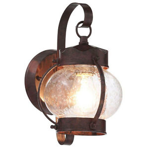 Old-Bronze-Outdoor-Wall-Mount-Lantern-Exterior-Porch-Patio-Lamp-Lighting-Fixture