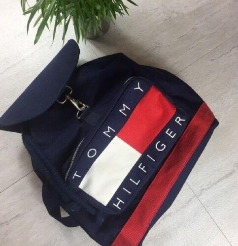 VTG 90s Tommy Hilfiger Drawstring Backpack Bag Fla