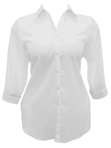Womens New White Shirt Blouse Top 3//4 Sleeve Girls Ladies Plus Size UK