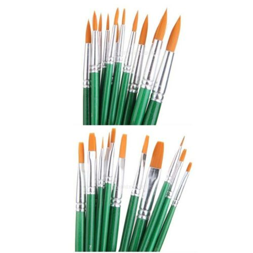 12pcs Artist Painting Flat Round Tipped Brushes Set for Watercolor Oil Painting