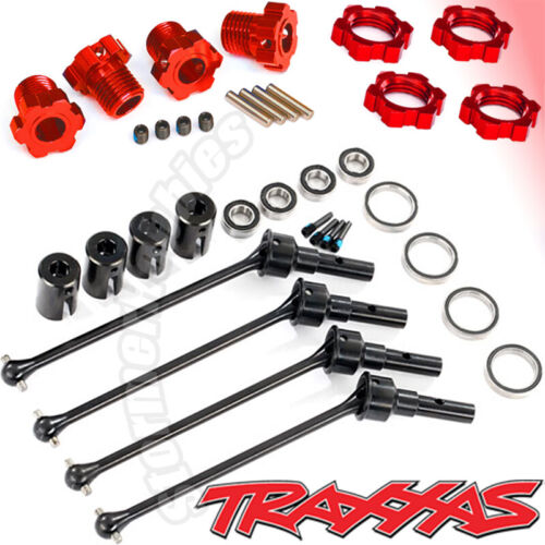 7758R wide axles RED hubs nuts complete Traxxas MAXX Package 8996X 8654R