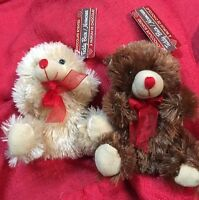 Lot Of 2 Soft Stuffed Plush Chocolate Scented Bears 5.5 Valentines Day