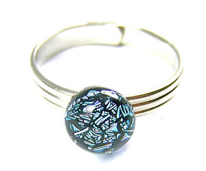 Dichroic-Glass-Ring-Adjustable-Silver-Pewter-Metallic-Dot-Tiny-1-4-034-8mm-Small