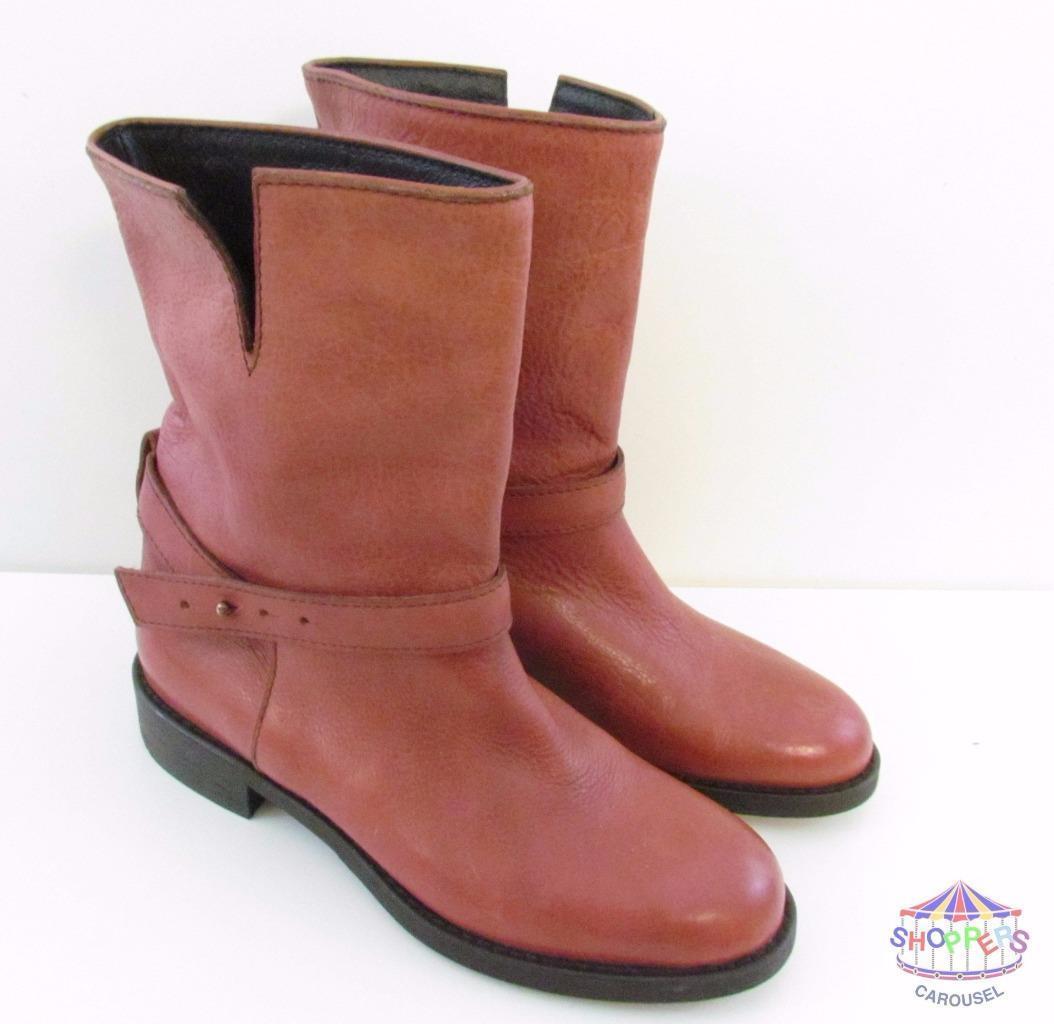 Madewell Biker Boots J Crew Cognac style 18405 size 5.5 reddish brown NEW