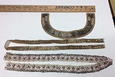 ANTIQUE 1920's TRIM Beaded Appliqué PIECES FROM DRESS VINTAGE Lot 16
