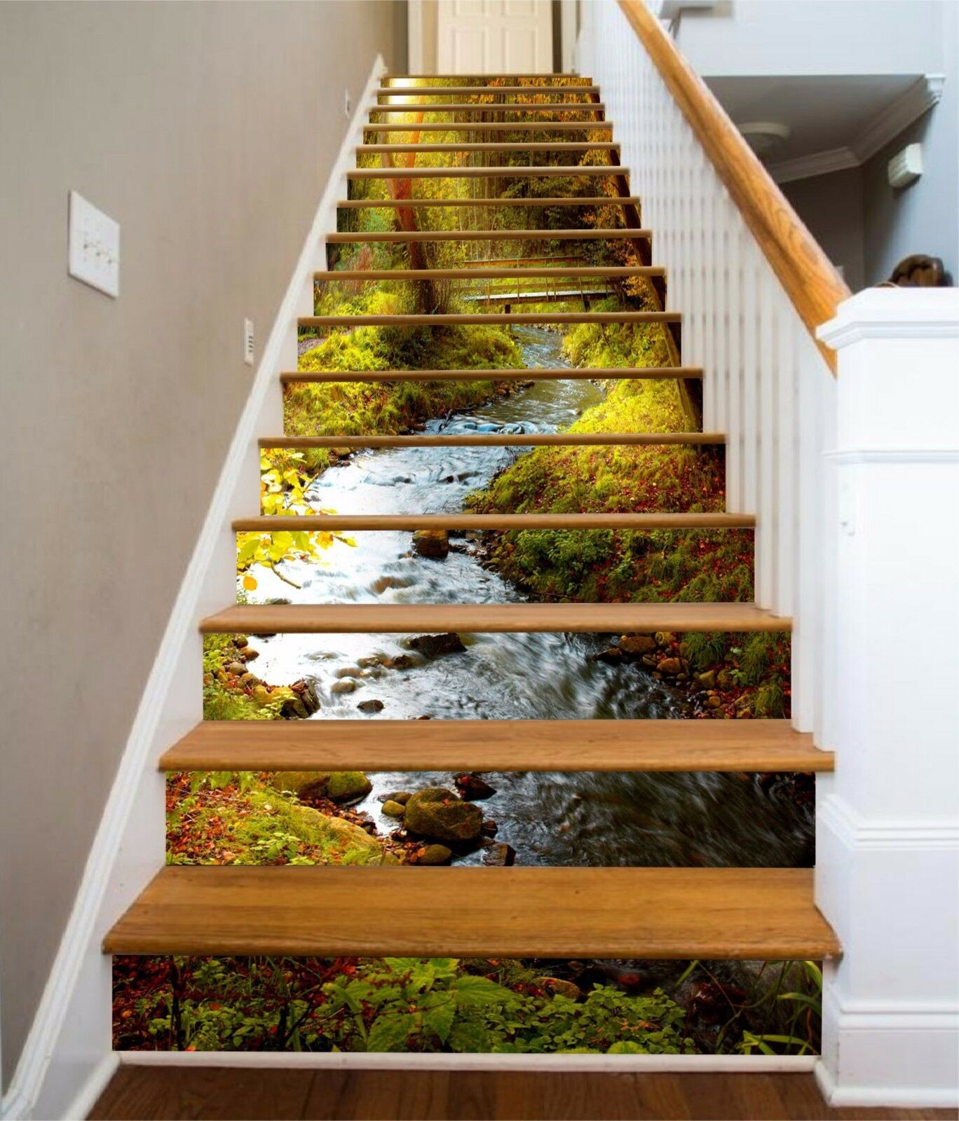 3D Forest Creek 8664 Risers Decoration Photo Mural Vinyl Decal Wallpaper CA
