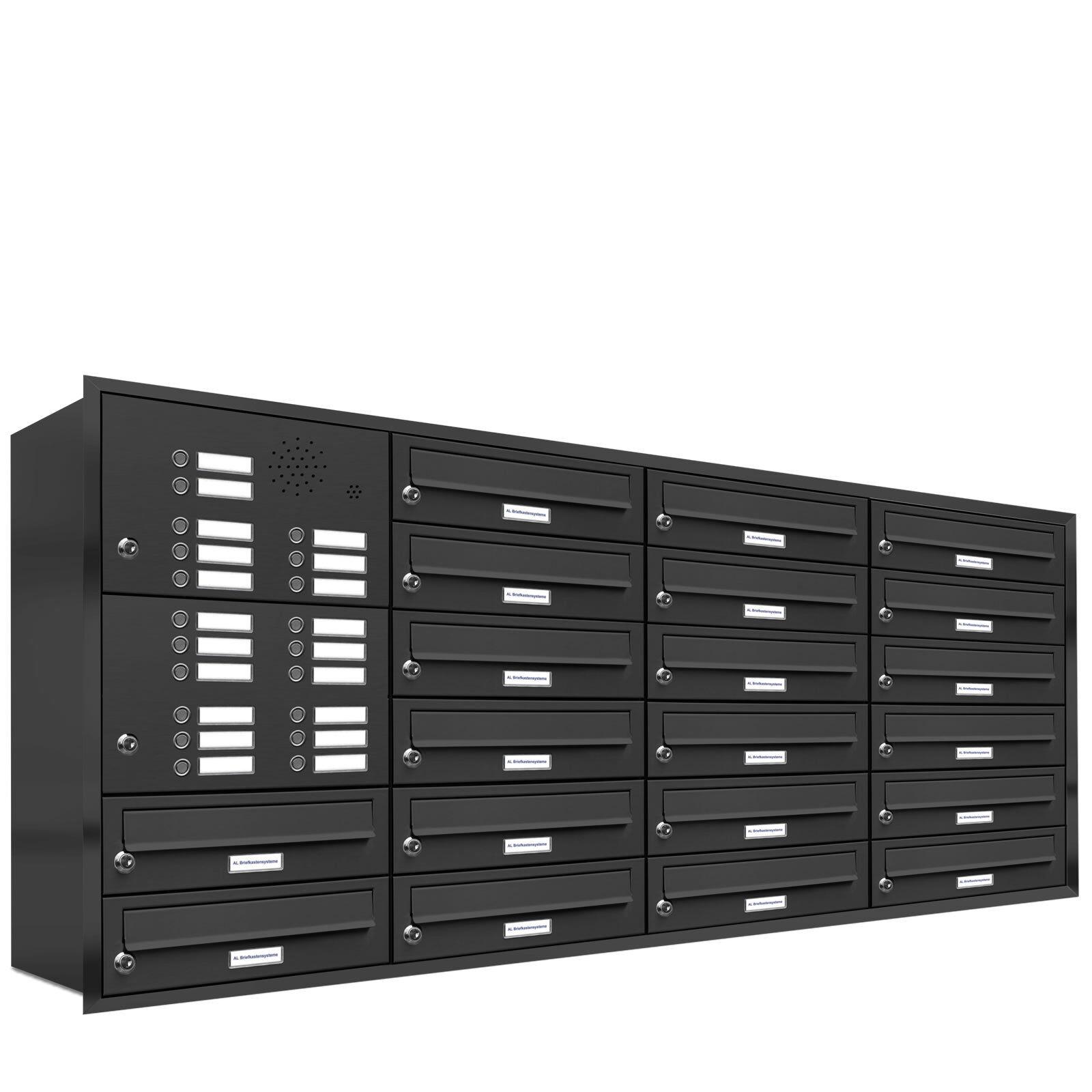 20 er Premium Unterputz Briefkasten Anlage Klingel RAL 7016 anthrazit Postkasten