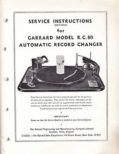 GARRARD SERVICE MANUAL FOR MODEL R.C. 80 AUTOMATIC RECORD CHANGER