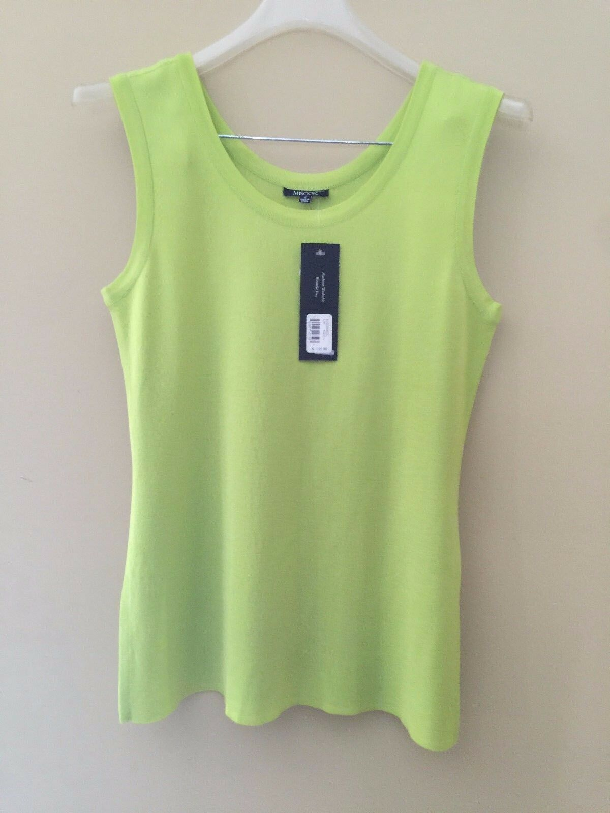Misook Lime Scoopneck Sleeveless Shell Tank Top S