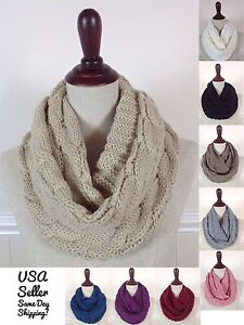 Women-039-s-Men-039-s-Winter-Cable-Knit-Warm-Infinity-Scarf-Braided-Cowl-Eternity-Wrap