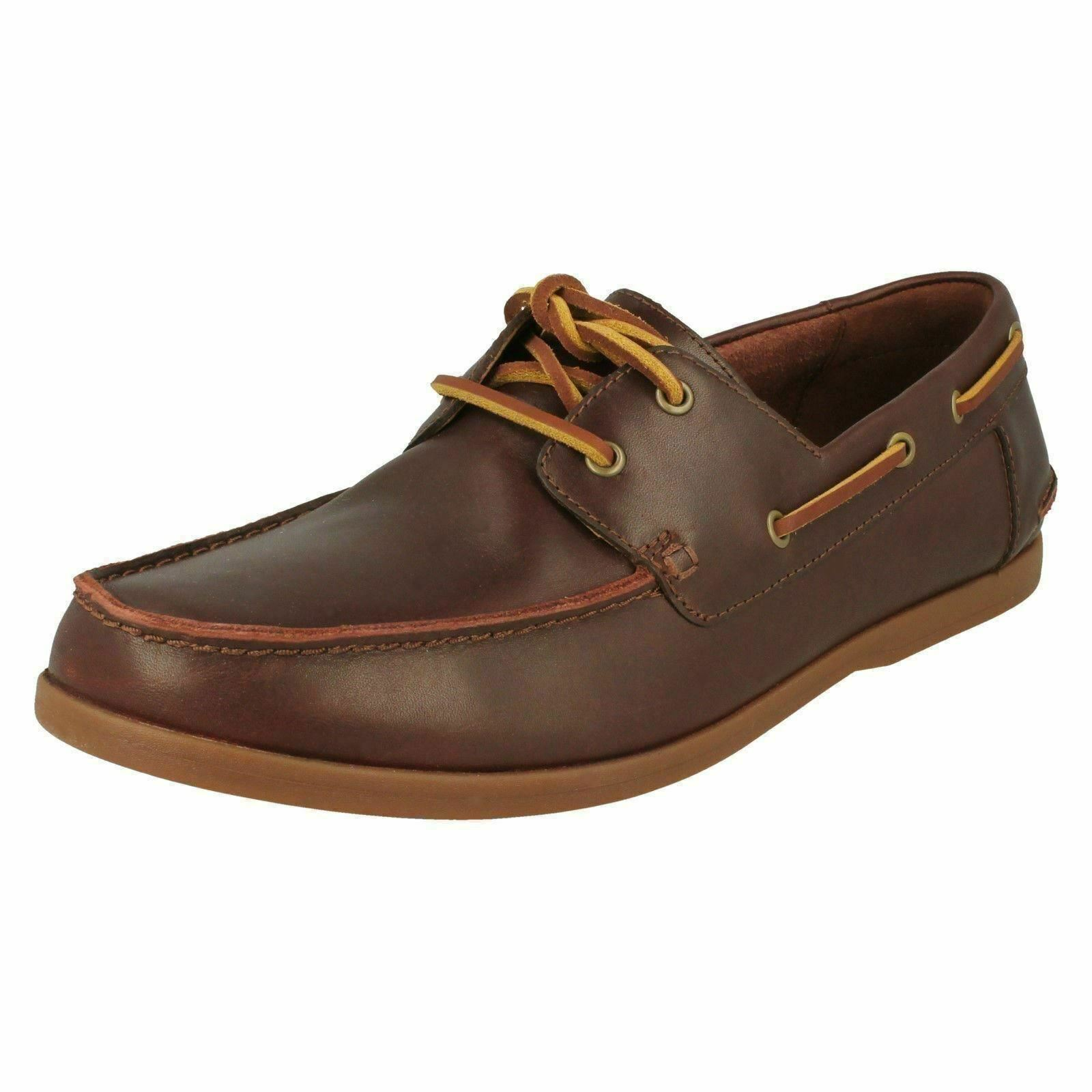 Mens Clarks 'Pickwell Sail' Leather Lace Up Boat schuhe - G Fit