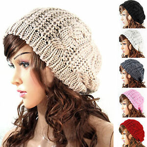 Fashion-Women-039-s-Ladies-Knitted-Crochet-Slouch-Casual-Beanie-Hat-Cap-Beret-Caps