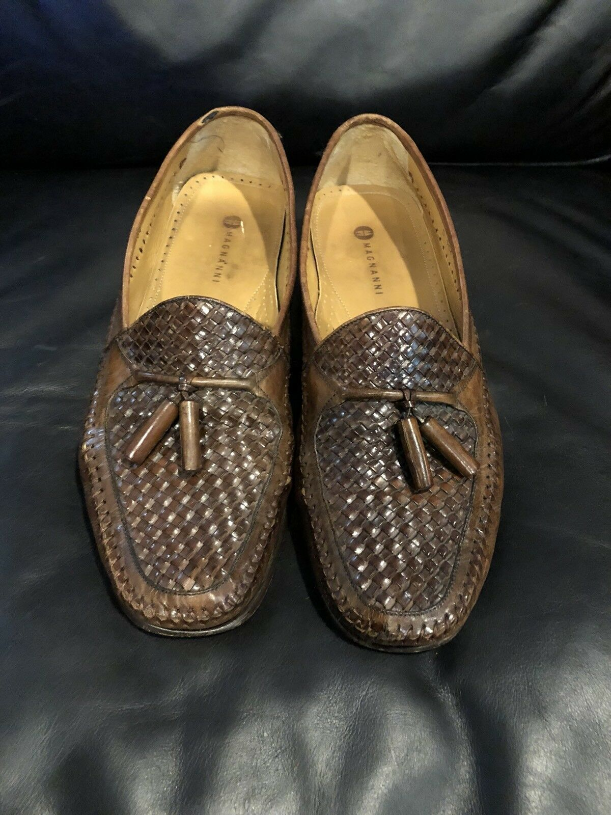Men's Magnanni Brown Leather Weave Slip On Loafers- Size 11