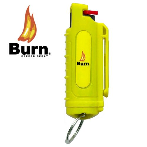 Details about  /BURN Pepper Spray Self Defense 0.5oz Hard Shell Keychain Yellow Case Molded