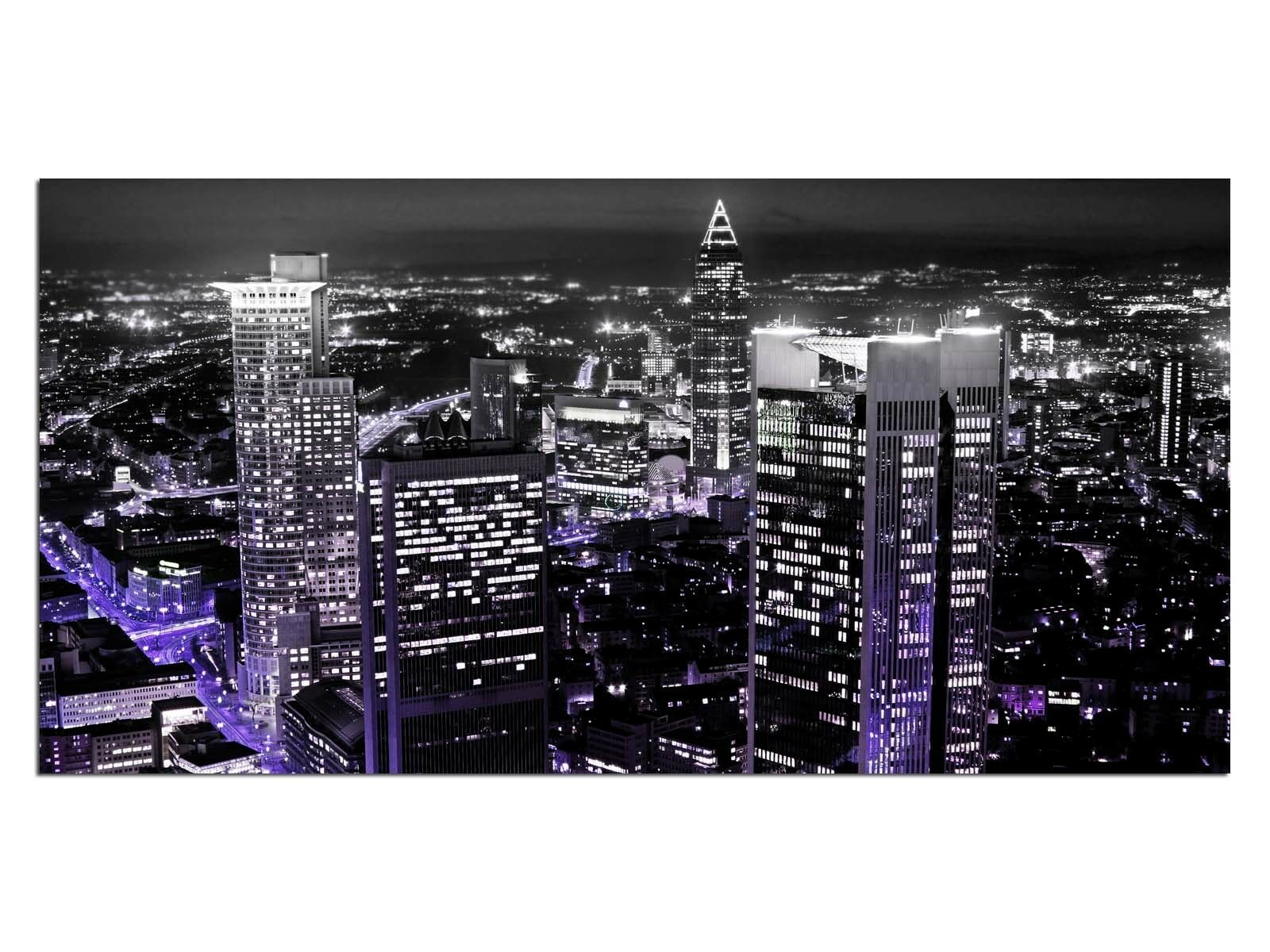 Deco Glas Bild EG4100501022 SKYSCRAPER Stadt lila Größe 39,37  x 19,68  HD P