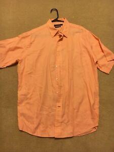 Daniel-Cremieux-collection-men-039-s-Large-short-sleeve-button-down-shirt-Orange