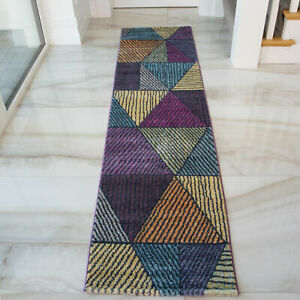 Rich Purple Multi Coloured Long Thin Warm Hall Hallway Runner Rugs