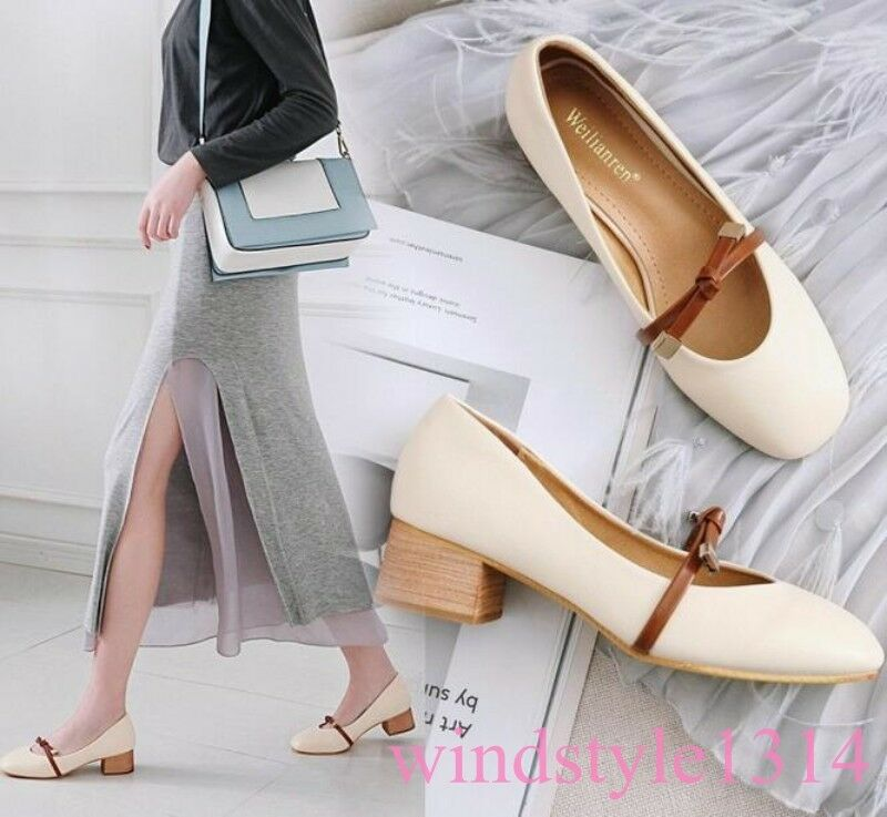 Spring 2019 Ankle Boots Loafer Pull On Square Toe Bowknot Chunky Heel Mary Jane