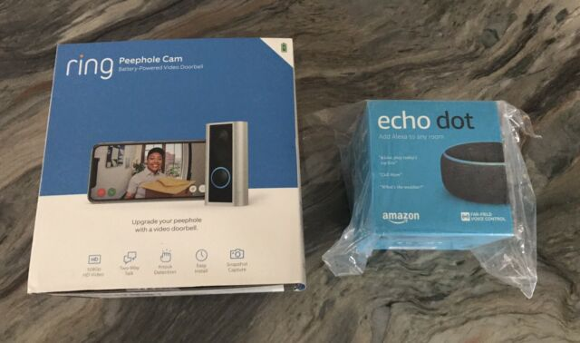 Ring Peephole Cam with Echo Dot (newest Gen) Satin Nickel NEW in BOX   FREE SHIP
