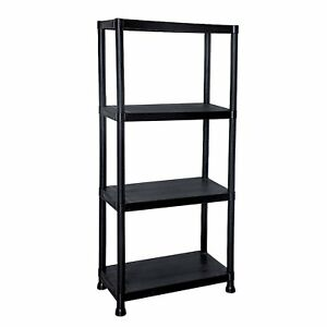 NEW! 4 Tier Black Plastic Heavy Duty Shelving Racking File Storage Unit 638353968311