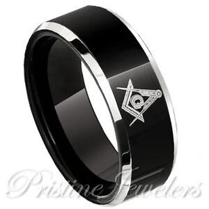 NEW-Black-Tungsten-Freemason-Silver-Masonic-Symbol-Men-Ring-Knights-Templar-Band