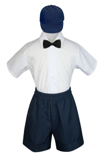 4pc Boy Toddler Formal Black Bow Tie Hat  White Brown Navy Gray Dark Khaki S-4T