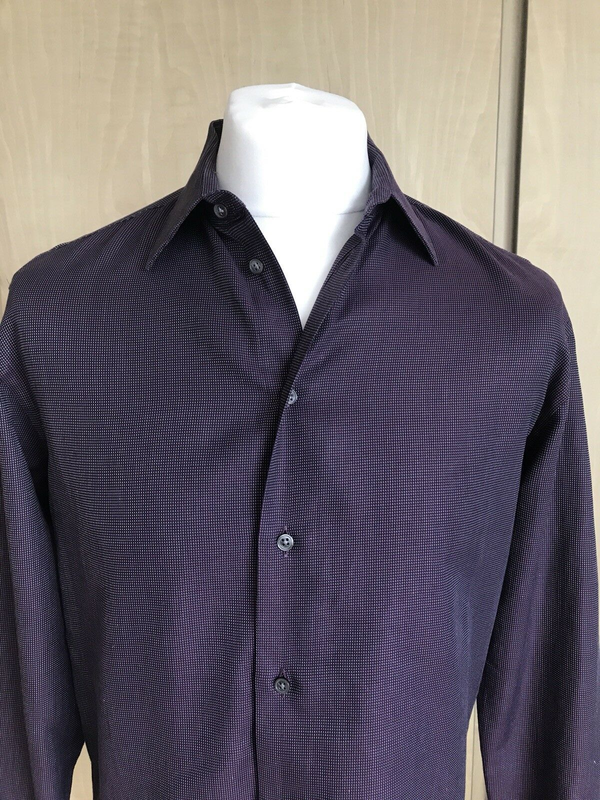 Armani Collezioni männer Texturot Formal hemd  Dark lila  Größe 39 IT= 15.5 USA.
