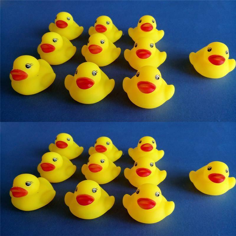 LOT 10/12/20PCS YELLOW Children Baby Bath Toys Cute Rubber Squeaky ...