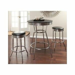 3 Piece Retro Bar Set Chrome Swivel Stools Pub Table