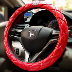 Red Car Steering Wheel Cover 38cm Deluxe PU Leather Bling Crown Diamond for Girl