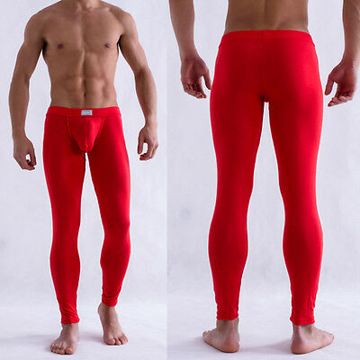Men's Solid Color Underpants Long Johns Pants Thermal Low Rise Underwear M L XL