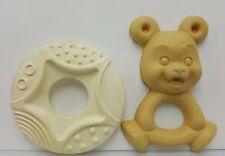 Vintage Rubber Teether teething ring Plakie teddy bear set 2 baby toy