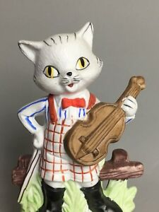 Bisque Porcelain Standing Cat with a Violin Figurine made in Japan