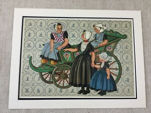 1932 Vintage Stampa Tradizionale Olandese Costume Folk Abito Tessuto Storia