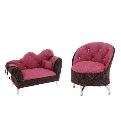 1//6 Dollhouse Miniature Single Sofa for Living Room Furniture Accessory Pink