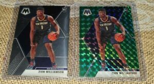 2019-20-Panini-Mosaic-Green-PRIZM-209-Zion-Williamson-PELICANS-Rookie-Lot-of-2