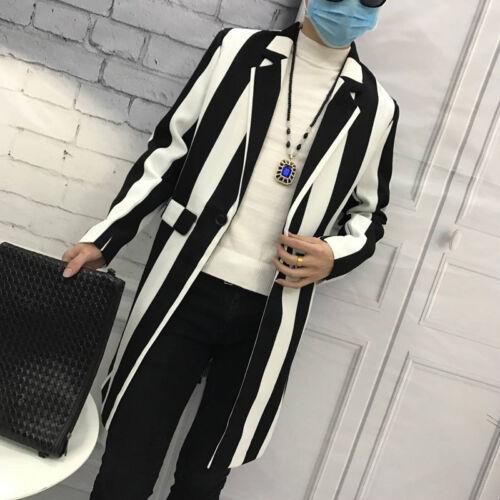 Mens Stylish trench coat long striped lapel club jacket hairstylist overcoat